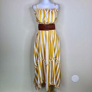 Unbranded Mustard & White Striped Midi Dress